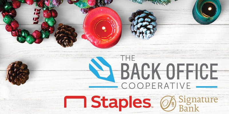 pine cones, candles, and holiday decor are scattered across a whitewashed wood background with logos from The Back Office Cooperative, Staples, and Signature Bank overlaid